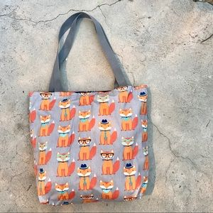 Handbags - Nerdy FOX Print TOTE cotton purse shoulder bag